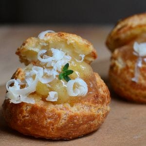 Apple and Cheddar Gougeres