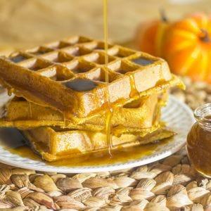 Pumpkin Waffles & Syrup