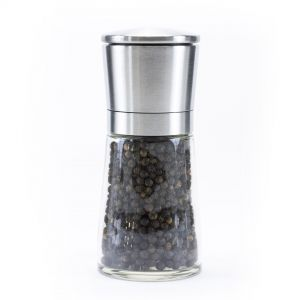 Glass Pepper Mill with Steel Lid