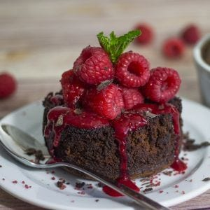 Warm Chocolate Cake & Raspberry Sauce