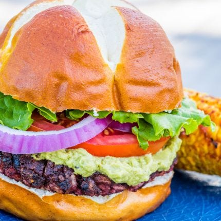 Vegan Beetroot Burger & Avocado Spread
