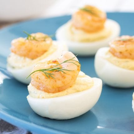 Coastal Deviled Eggs with Shrimp