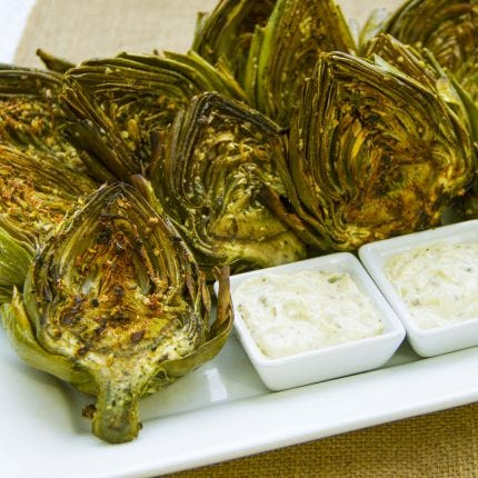 Grilled Garlic Artichokes and Aioli