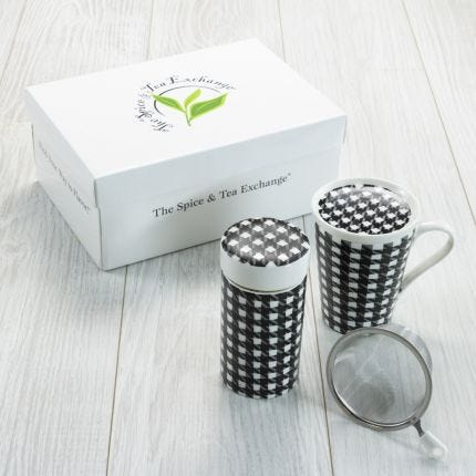 Tea Gift Set - Bone China Houndstooth