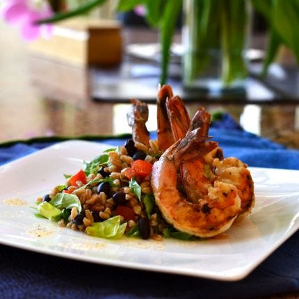 Mexican Rice Salad with Adobo Shrimp