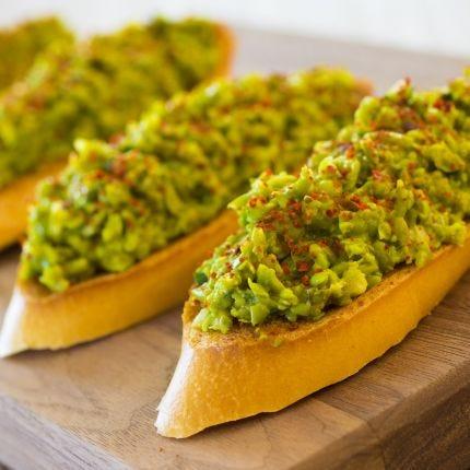 Moroccan Green Pea Bruschetta