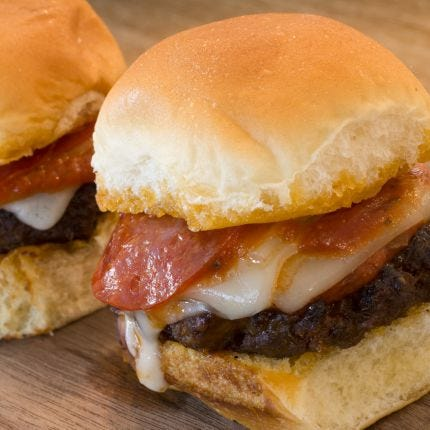 Pepperoni Pizza Burger Sliders