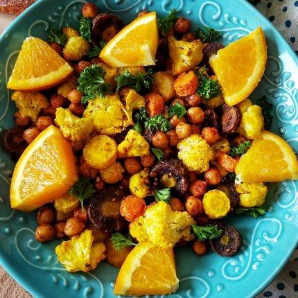 Roasted Turmeric Carrots & Cauliflower Salad